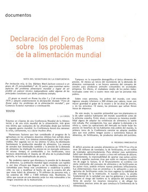 Declaración del Foro de Roma sobre los problemas de alimentación