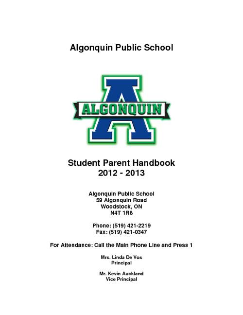 Algonquin Student Handbook