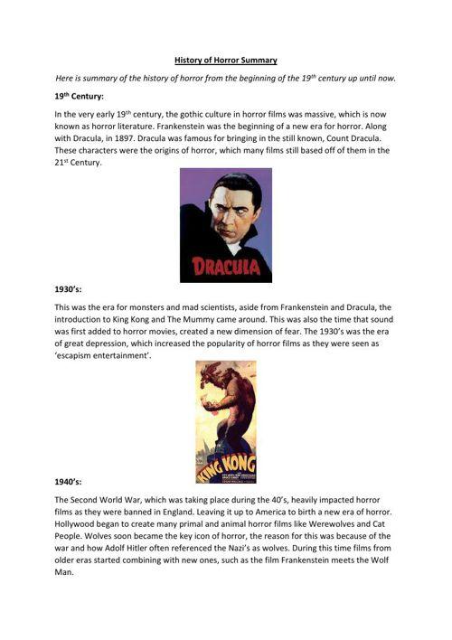 History of Horror Summary