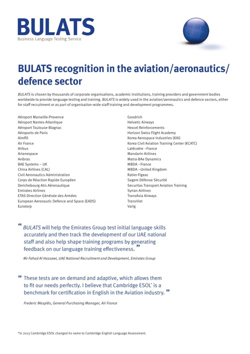BULATS Aviation Aerospace Defence Sectors
