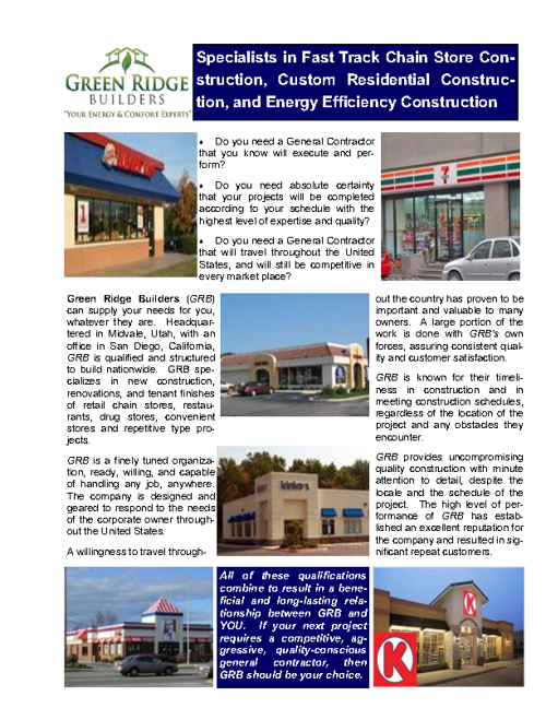 GREEN RIDGE BUILDERS - Chain Store Division