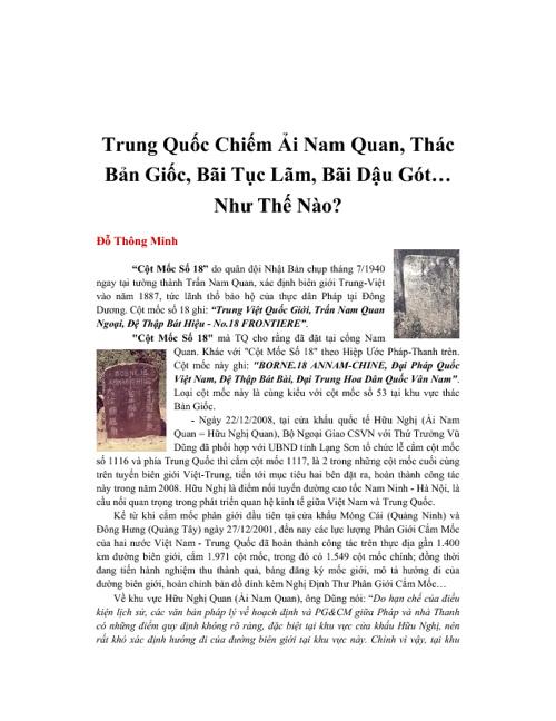 Trung Quoc Chiem Viet Nam Nhu The Nao?