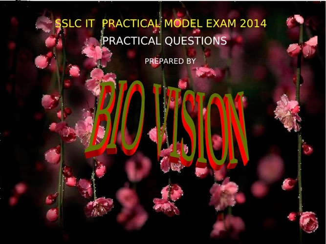 SSLC IT  PRACTICAL MODEL EXAM QUESTIONS 2014