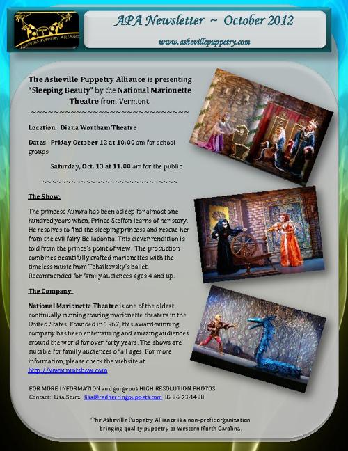 Asheville Puppetry Alliance October 2012 Newsletter