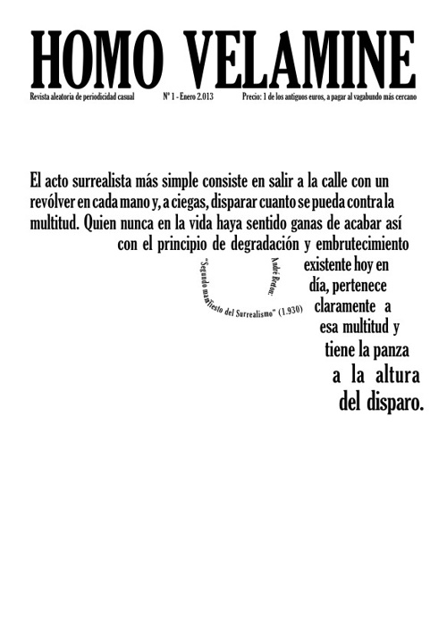 Homo Velamine / Nº1 - Enero 2.013