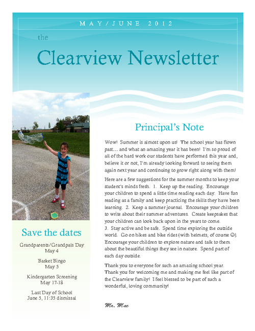 Clearview May, 2012 Newsletter