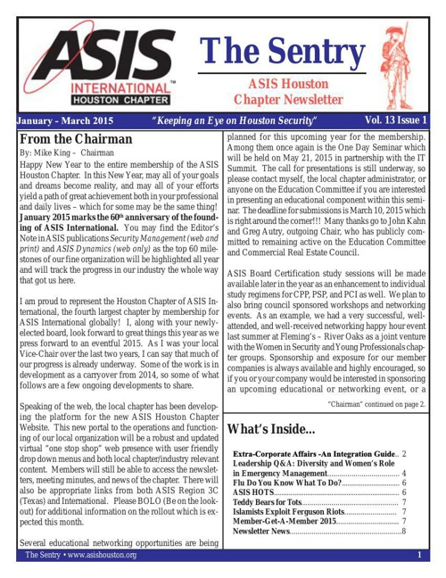 January 2015 ASIS Newsletter