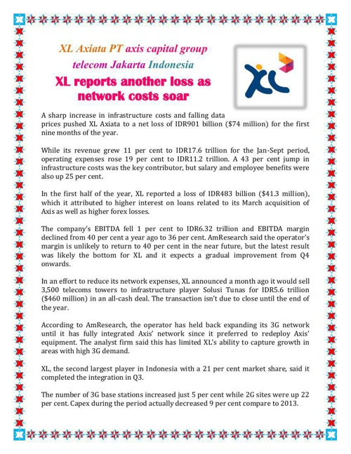 XL reports another loss as network costs soar