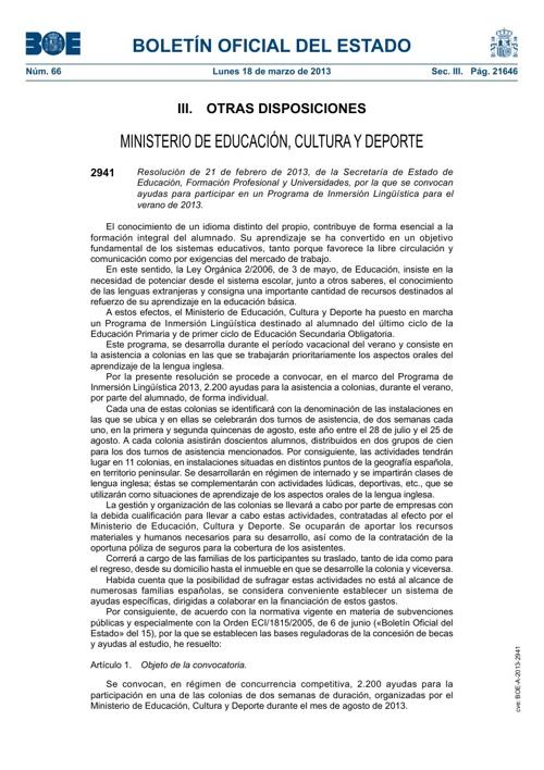 Ayudas Programa Inmersión Lingüística
