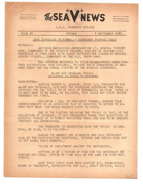 07 SEP 1945 SEA V NEWS
