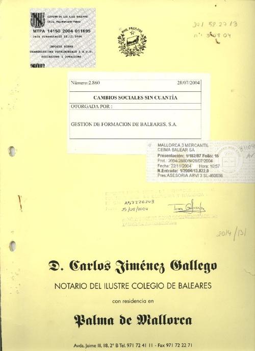CAMBIOS SOCIALES - NOMBRE Y DOMICILIO  - n 2860 FECHA 28-07-2004