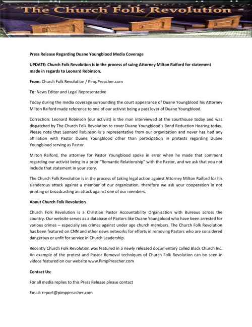Press Release Regarding Duane Youngblood Media Coverage