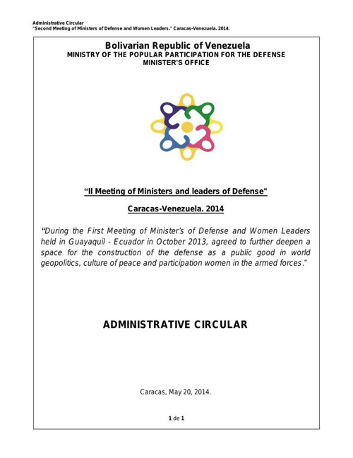 MINISTERS AND ADMINISTRATIVE CIRCULAR LEADERS