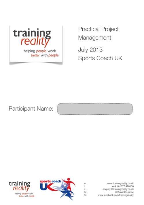Sports Coach UK - Project Management Workbook