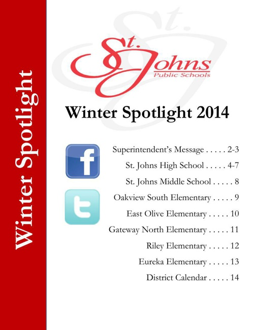 St. Johns Public Schools - Spotlight  Winter 2014