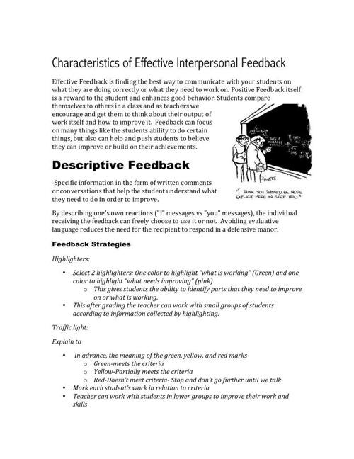 Characteristics of Effective Interpersonal Feedback