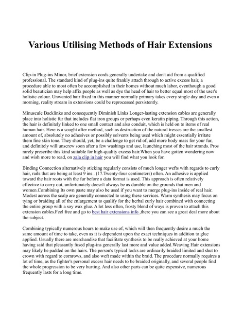 Various Utilising Methods of Hair Extensions