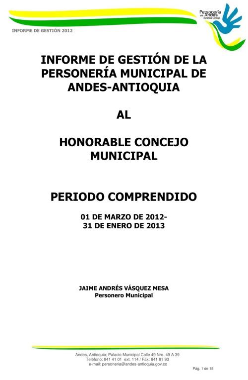 Informe de gestión Personeria Andes