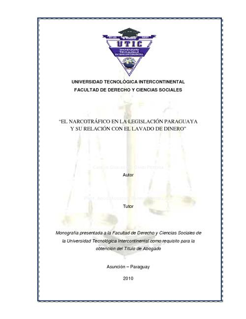 El Narcotráfico en la Legislación Paraguaya