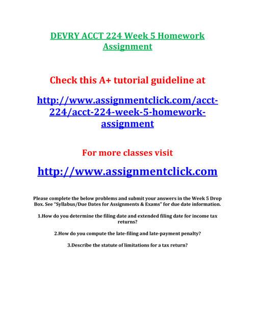 DEVRY ACCT 224 Week 5 Homework Assignment