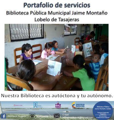 PORTAFOLIO DE SERVICIOS, BIBLIOTECA PÚBLICA DE TASAJERAS
