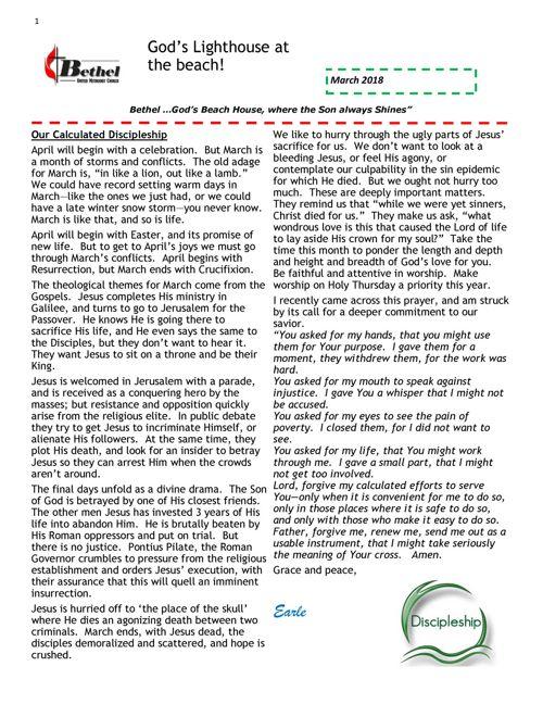 Bethel UMC March 2018 Newsletter