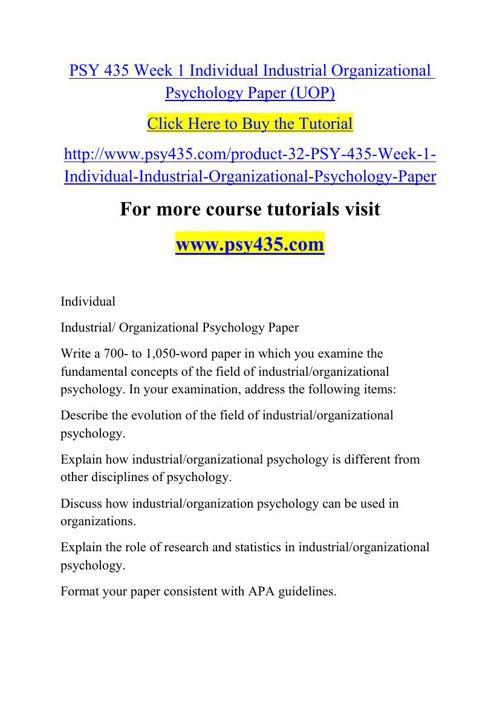 PSY 435 Week 1 Individual Industrial Organizational Psychology P