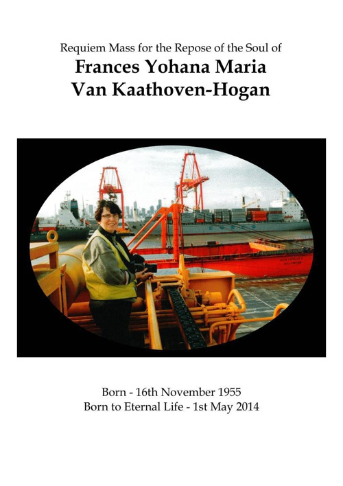 8 Page Order of Service for Francis Van Kaathoven