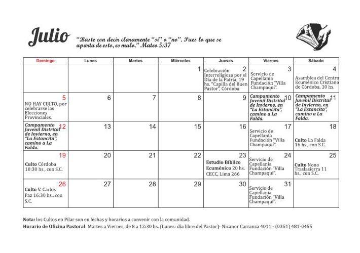 Calendario de Actividades - Julio | Agosto 2015