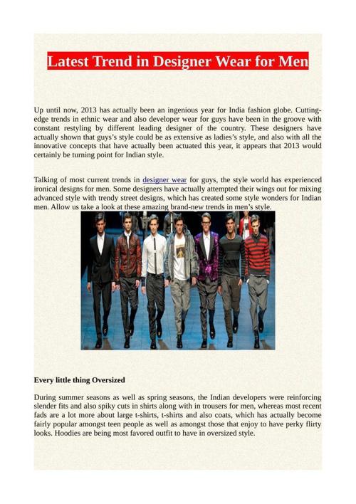 Latest Trend in Designer Wear for Men