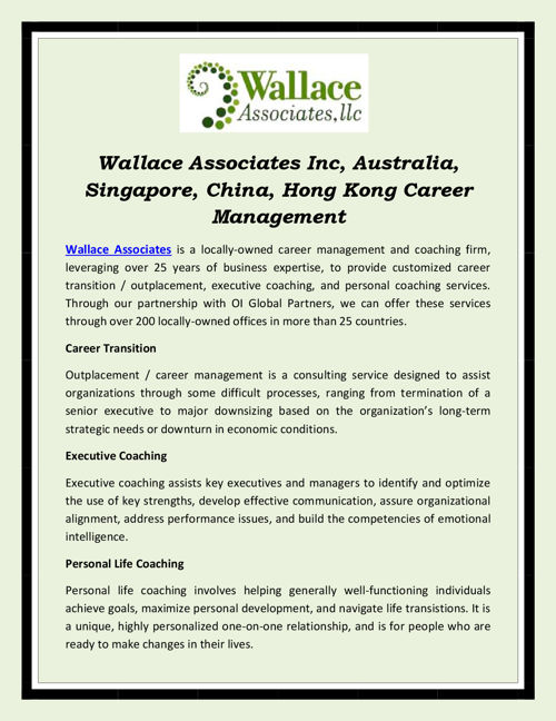 Wallace Associates Inc, Australia, Singapore, China, Hong Kong C