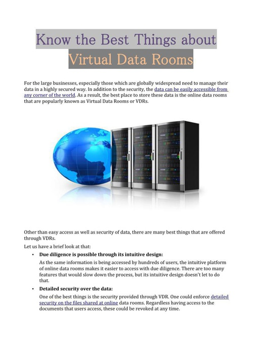 Know the Best Things about Virtual Data Rooms