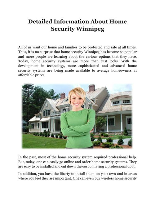 Detailed Information About Home Security Winnipeg