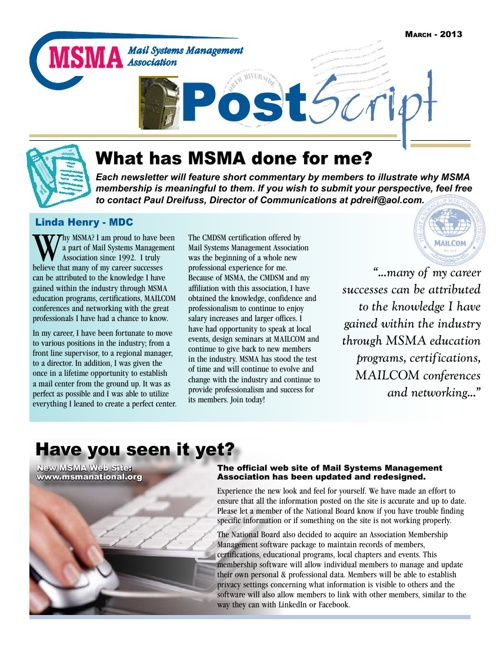 March 2013 PostScript