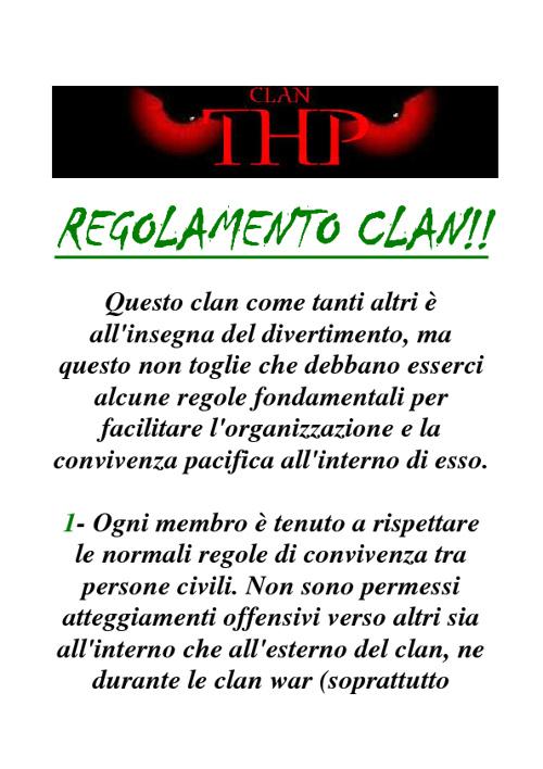 REGOLAMENTO CLAN