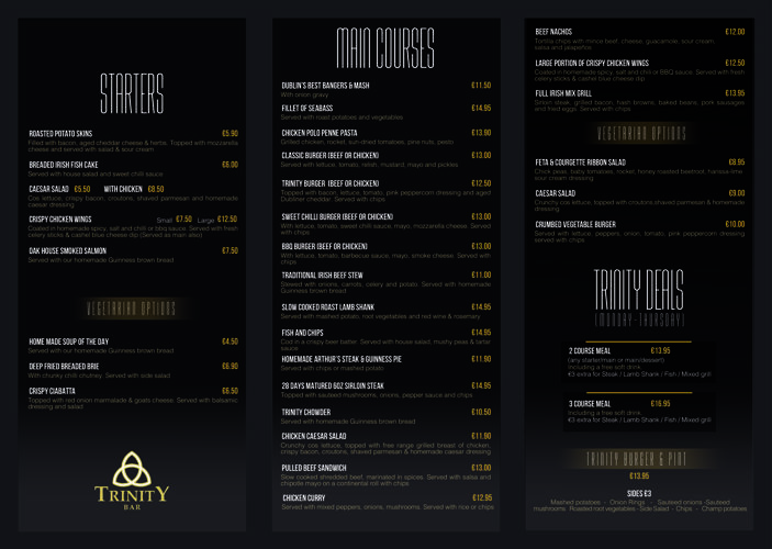 TRINITY BAR AND VENUE MAIN MENU