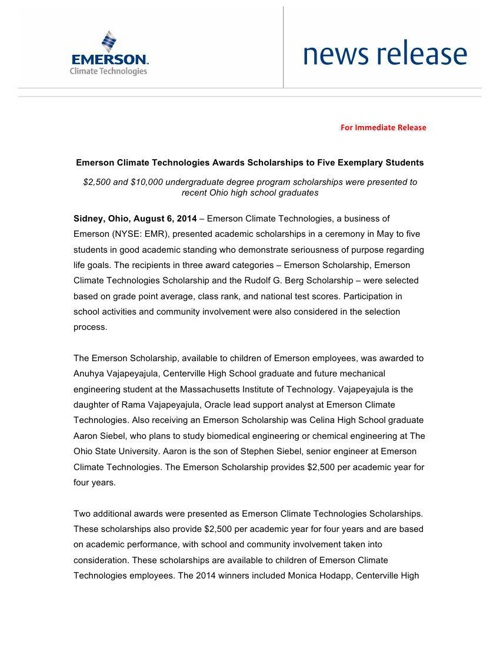 Emerson Climate Technologies Scholarship Press Release