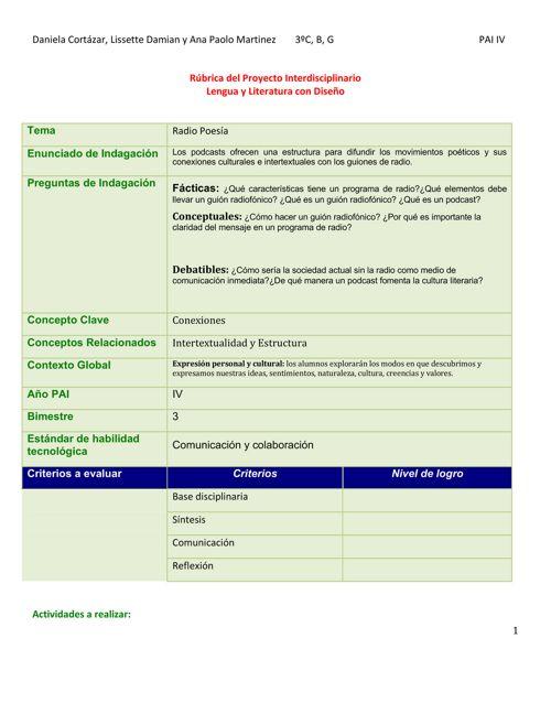 Rúbrica Interdisciplinario