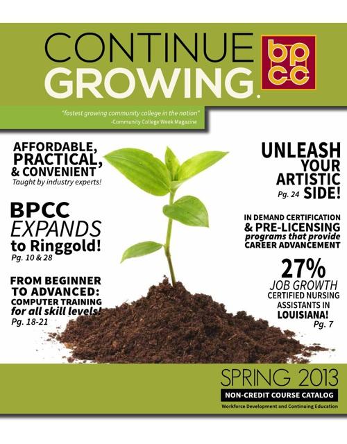BPCC Spring 2013 Non-Credit Course Catalog