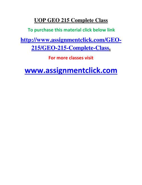 UOP GEO 215 Complete Class