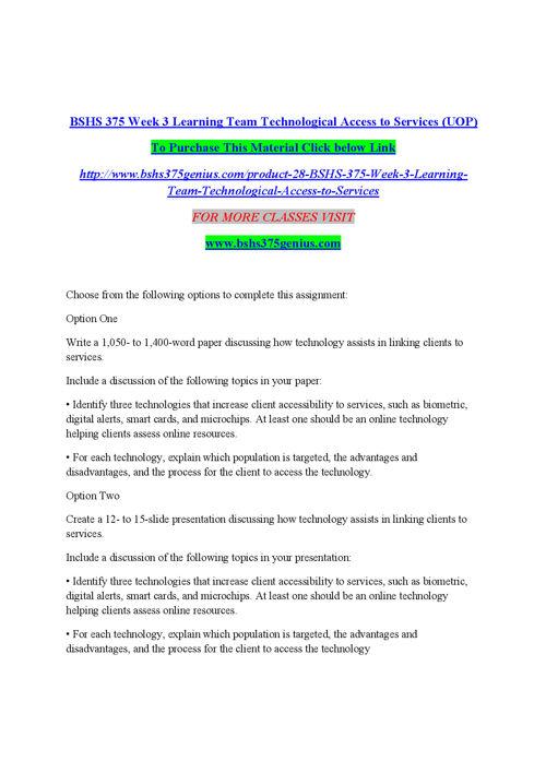 BSHS 375 GENIUS Peer Educator/ bshs375genius.com