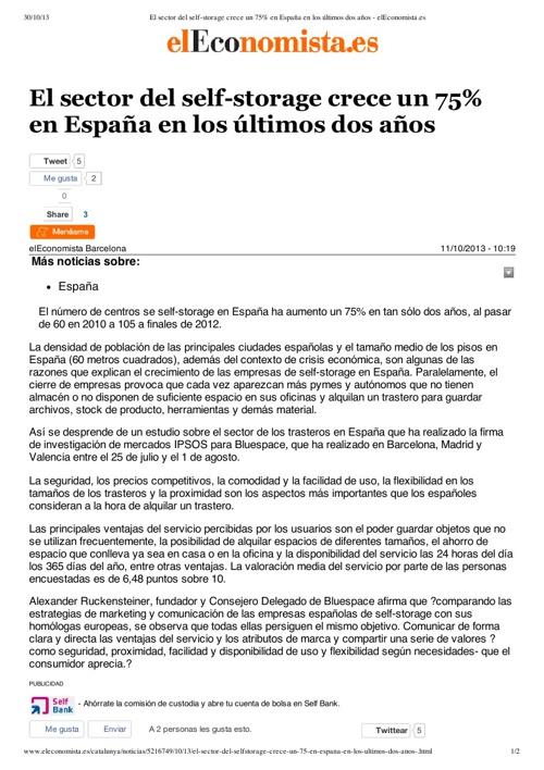 El sector del self-storage crece un 75% en España
