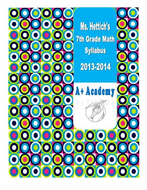 Ms. Hettich's 7th Grade Math Class Syllabus