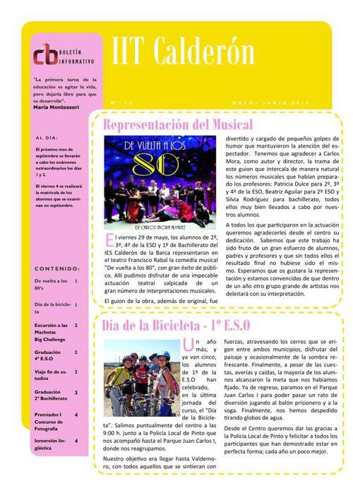 Boletín de mayo-junio del IES Calderón de la Barca de Pinto