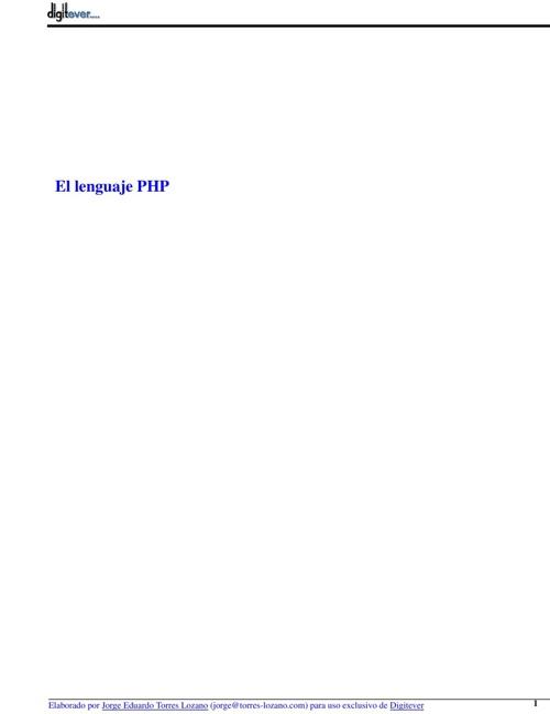 El lenguaje PHP