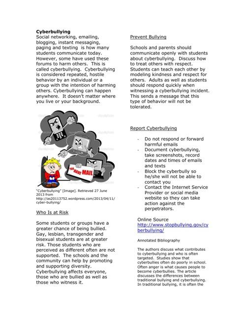 Personal Dangers - Parent Newsletter
