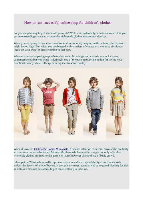 How to run  successful online shop for children's clothes