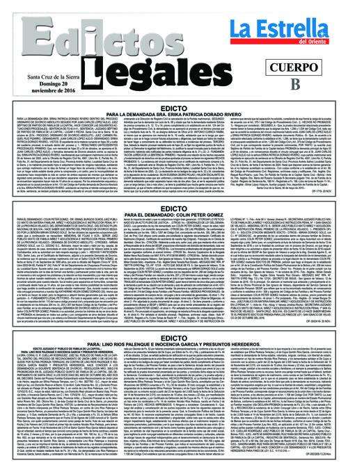 Judiciales 20 domingo - noviembre 2016
