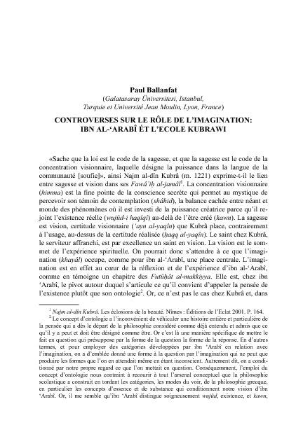 BALLANFAT, P., « Controverses sur le role de l'imagination »