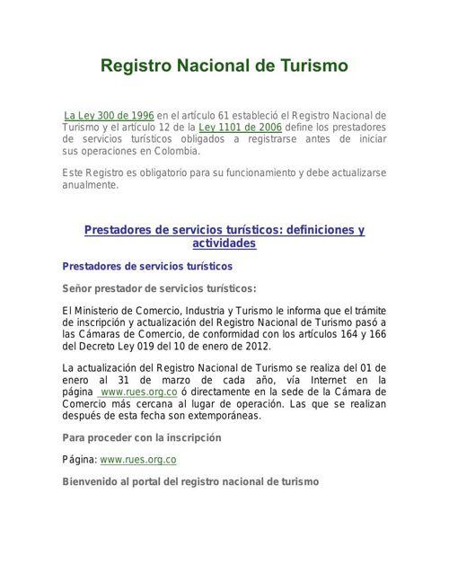 11. Registro Nacional de Turismo